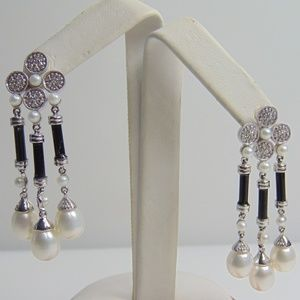 14KT White Gold Diamond, Black Onyx And Pearl Dang